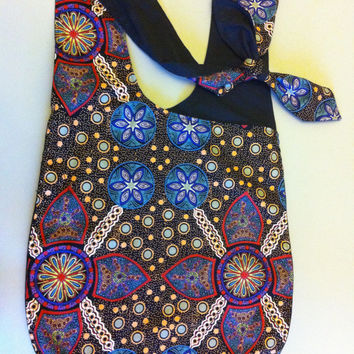 Australian Aboriginal Print Hip Sling Bag in Stella Black