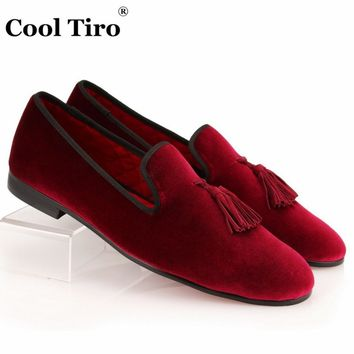 COOL TIRO New Wine Red Fashion Velvet Loafers