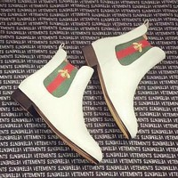 GUCCI Autumn And Winter High Quality Fashion New Bee Stripe Leather Shoes Boots Women White