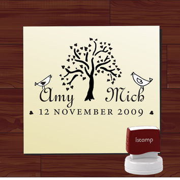 Custom  Personalized   SELF - INKING   address  or save the date rubber stamp with bird on swirl branch cute  wedding  gift - style 1209