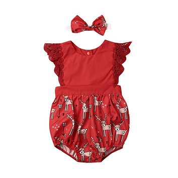 Cute Infant Baby Girl Xmas Clothes Sets Deer Print Lace Fly Sleeve Romper Bow Headband Baby Girl Christmas Outfits 0-24M