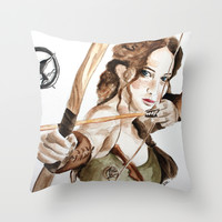 Hunger Games. Katniss Everdeen. Throw Pillow by Feeling Artsy
