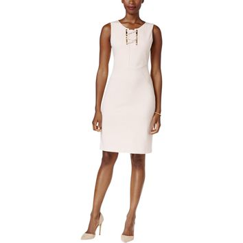 Ivanka Trump Womens Lace Up Hardware Detail Party Dress