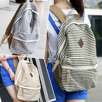 Stripe Leisure Canvas Backpack