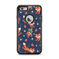 The Running Orange & Navy Vector Fox Pattern Apple iPhone 6 Plus Otterbox Defender Case Skin Set