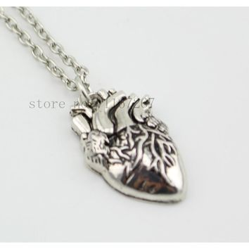 The Walking Dead jewelry Phantom Jewelry Womens Retro Silver Anatomical Half Heart Necklace Zombie heart jewelry