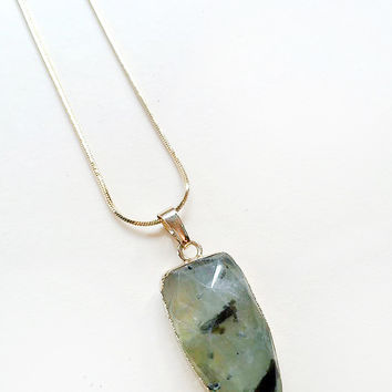 Pear Shape Faceted Prehnite Stone Necklace by The Little Deer