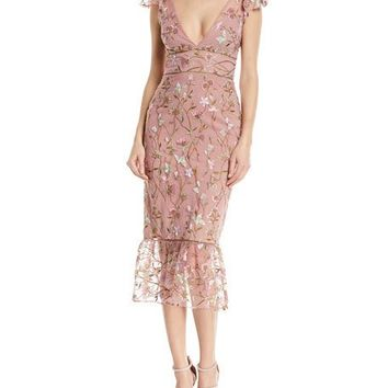 Marchesa Notte Sequin Embroidered Flutter-Sleeve Cocktail Dress