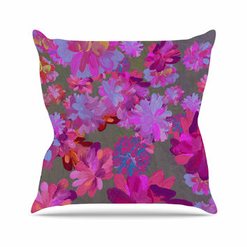 """Marianna Tankelevich """"Purple Flowers"""" Pink Blue Outdoor Throw Pillow"""