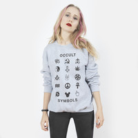 Occult Symbols Sweatshirt | Black on Heather Grey | Killer Condo Apparel