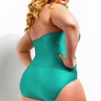 Orange Plus Size Cutout Bandage Bathing Suit Swimwear