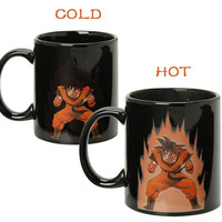 Dragon Ball Z Goku Super Saiyan Color Changing Coffee Mug Heat Reactive Black Ceramic Cup