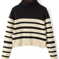 Black and Apricot Stripe Turtleneck Cropped Sweater