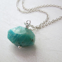 Amazonite Necklace - Natural Blue Green Amazonite Stone Pendant Necklace Silver Chain stone NO.10