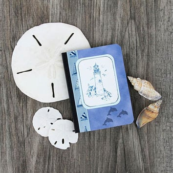 Lighthouse Mini Journal, Pocket Notebook, Altered Composition Book, Blue and White, Morning Pages on the Go, Personal Diary, Memory Book