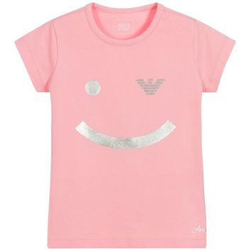 Armani Junior Girls Pink 'Smiley' T-Shirt