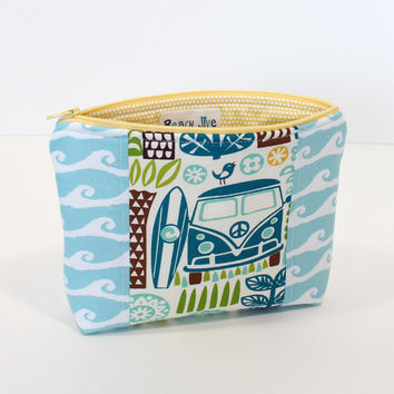 Zippered Pouch Cosmetic Bag Makeup  Accessory Pouch with Waves and Tropical fabric Peace Van