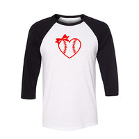 Heart Baseball Raglan Shirt, Baseball Shirt