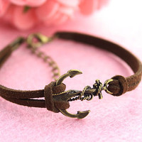 bracelet--anchor bracelet,antique bronze charm bracelet,brown leather bracelet,love bracelet