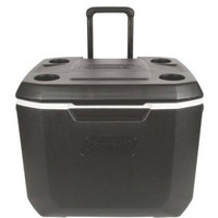 Coleman 50 Quart Portable Ice Chest Cooler w Wheels, Wheeled Rolling Cooler