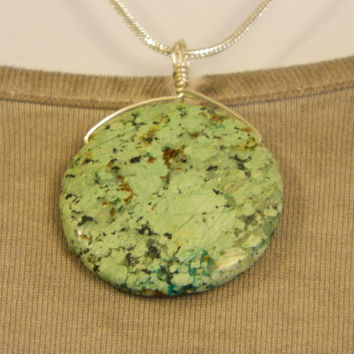 60ct. Sea Foam Green and Black Stone, Semi Precious, Agate, Pendant, Necklace, Round, Natural Stone, 114-15