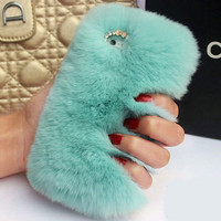 Phone Case Rabbit Iphone Apple Fur Rhinestone Samsung Phone [9397779594]