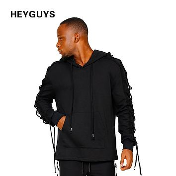 HEYGUYS high street wear pullover Men hoodies men with ties Hip Hop Street wear pure Sweatshirts wear Clothing fleece clothes