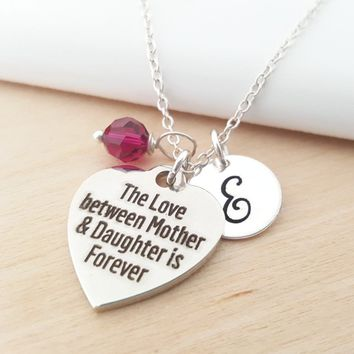 Mother and Daughter Charm Personalized Sterling Silver Necklace