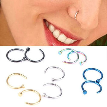Yueton Pack of 10 Nose Studs, Assorted Stainless Steel Body Jewelry Piercing Nose Open Hoop Ring Earring Body Piercing Studs Body Slave Jewelry