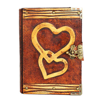 Double Heart Decoration On A Brown Refillable Leather Journal / Notebook / Diary / Sketchbook
