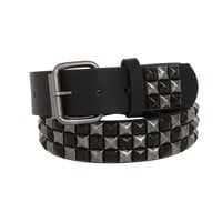 Black And Silver Burnished Checkered Pyramid Stud Belt | Hot Topic