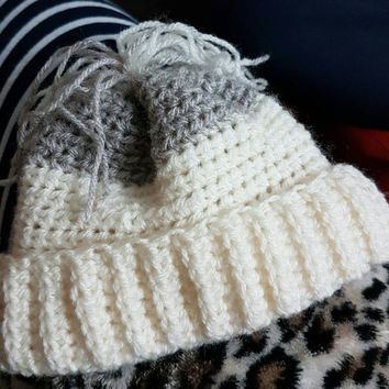 Handmade crochet hat super cute baby 0-6 months cream and grey tassel top gift idea baby shower mum to be