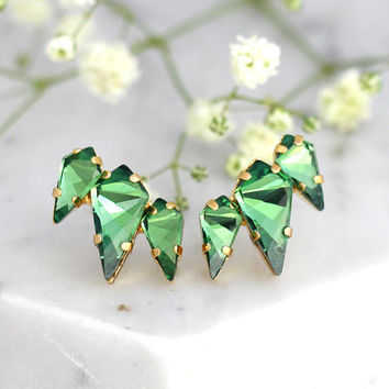 Climber earrings, Green Earrings, Bridal Green Stud Earrings, Swarovski Crystal Erinite Earrings, Bridal Emerlad Earrings, Gift For Her