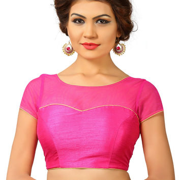 Saris and Things Pink Net Fancy Back Open Saree Blouse Choli SNT-X-373-PINK