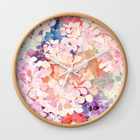 happy flowers Wall Clock by Bunny Noir