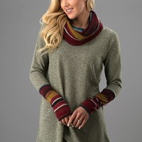 Simply Snuggly Cowl Neck Top - Striped Olive