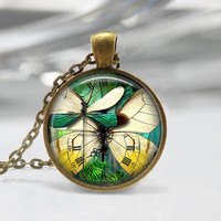 STEAMPUNK Glass Pendant, Steam Punk Necklace, Butterfly Charm , Clock Pendant , Gothic Jewelry, Glass Art Pendant Charm,