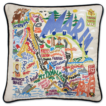 Marin County Hand Embroidered Pillow