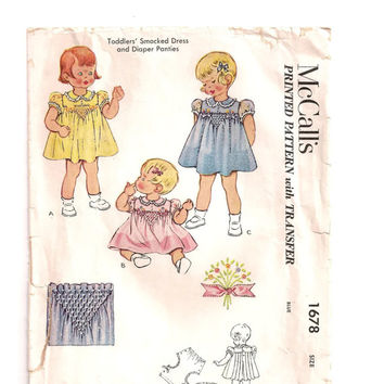 1951 Toddlers Smocked Dress & Diaper Panties Pattern,Toddler Size 1,McCall's Pattern 1678,Vintage Sewing Pattern,Dress Pattern,Cut,Complete