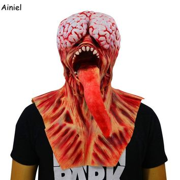 Resident Evil Zombie Terror Mask Cosplay Halloween Demon Long tongue Terrified Scary Latex Mask Carnival Costumes for Men Adult