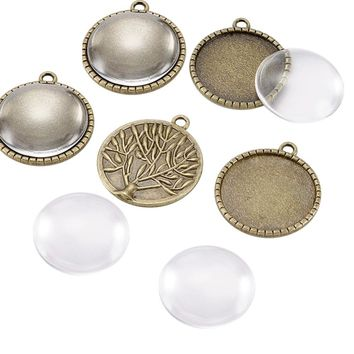 25mm Transparent Clear Domed Magnifying Glass Cabochon Cover for Alloy Photo Pendant Making, Cadmium & Nickel & Lead