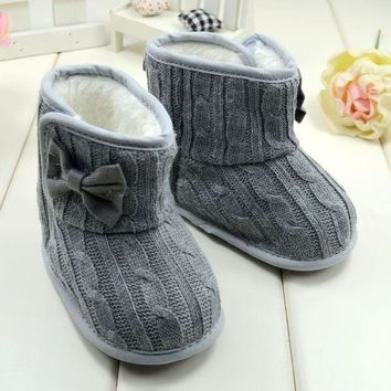 Baby Girl Knitted Boots Bowknot Faux Fleece Soft Sole Shoes Kids Woolen Yam Knitted Fu