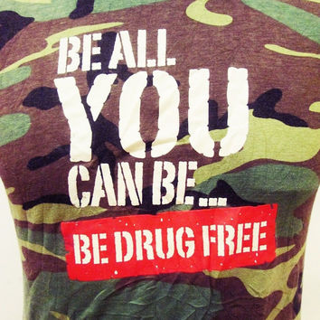 Retro Camo Camoflage Be All You Can Be Drug Free Ringer Tee T Shirt Medium