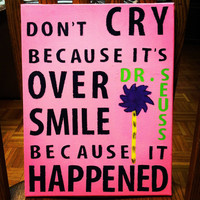 Original Canvas Painting  Dr Seuss  Smile Because by JordansCanvas