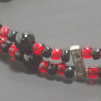 Red and Black Gothic Multi strand Beaded Bracelet- Toggle Clasp
