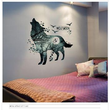 Wolf Moon Wall Stickers for Rooms Decoration