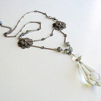 Vintage Necklace Repurposed Jewelry Antique Crystal Chandelier Pendant