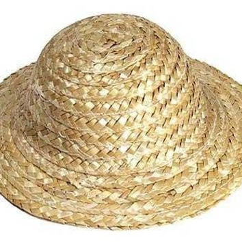 Darice DIY Crafts 2-inch Miniature Natural Straw Doll Hats Pack of 12 Hats