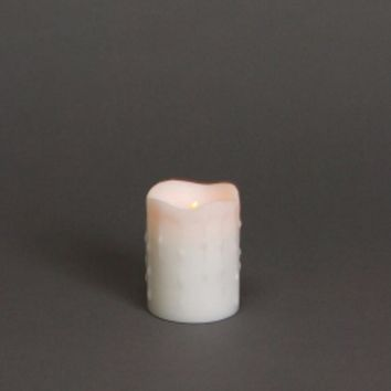 "4"" Winter Frost White Flameless LED Dripping Wax Christmas Pillar Candle"