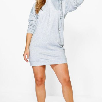 Plus Ruby Hooded Distressed Sweat Dress | Boohoo